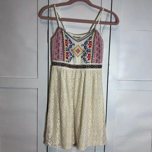 FLYING TOMATO Aztec Embroidered Dress S